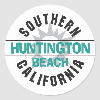 La Californie du sud - Huntington Beach Sticker Rond