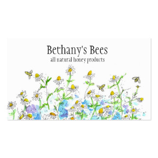 La camomille de carte de visite d abeille de miel