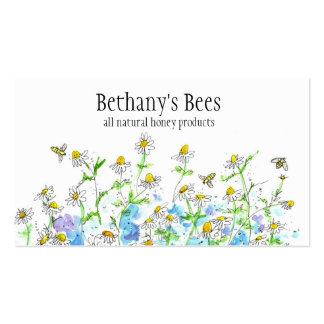 La camomille de carte de visite d'abeille de miel