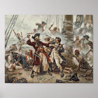 La capture de Blackbeard le pirate Affiche