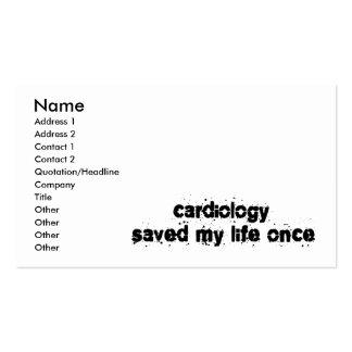 La cardiologie a sauvé ma vie par le passé cartes de visite personnelles