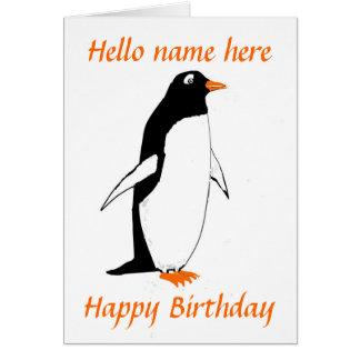 La carte d'anniversaire de pingouin ajoutent le