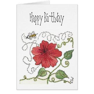 La carte d'anniversaire, gaffent l'abeille et la
