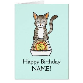 La carte de chat de pizza de joyeux anniversaire