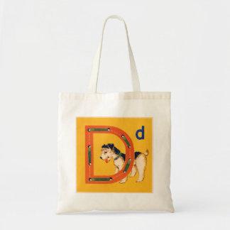 La carte de couture vintage D est pour le sac de