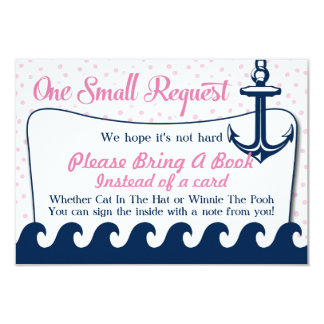 La carte de livre nautique rose de baby shower carton d'invitation 8,89 cm x 12,70 cm