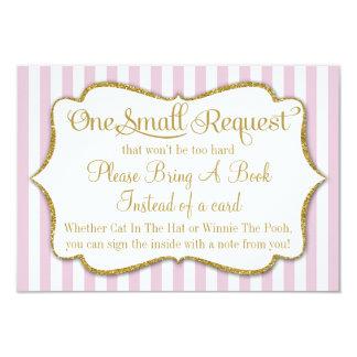 La carte de livre rose de baby shower d'or amènent carton d'invitation 8,89 cm x 12,70 cm