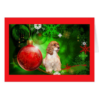 La carte de Noël de cocker tient le premier rôle B