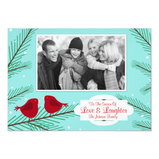 La carte de Noël rouge vintage d'oiseaux, ajoutent Carton D'invitation 12,7 Cm X 17,78 Cm