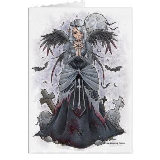 La carte de note foncée d'ange de prêtresse