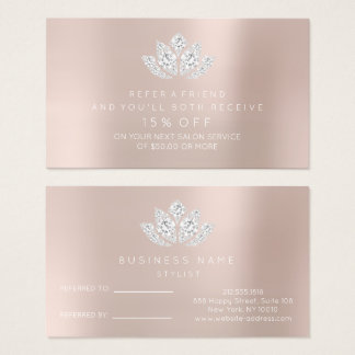 La carte de référence de salon rougissent diamant