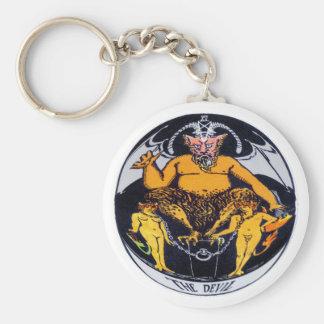 La carte de tarot de diable porte-clé rond