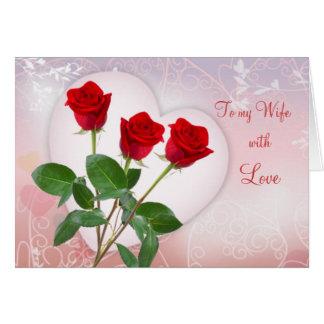 La carte de Valentine pour l'épouse avec les roses