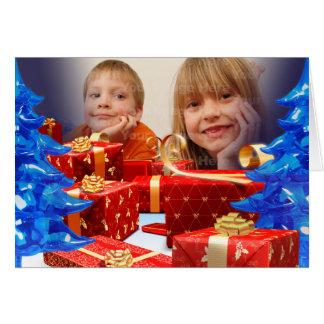 La carte de voeux rouge de photo de cadeaux