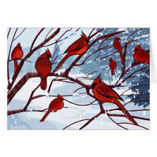 La carte de voeux rouge de photo d'oiseaux