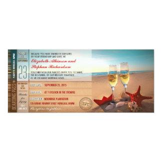La carte d'embarquement étiquette le mariage de carton d'invitation  10,16 cm x 23,49 cm