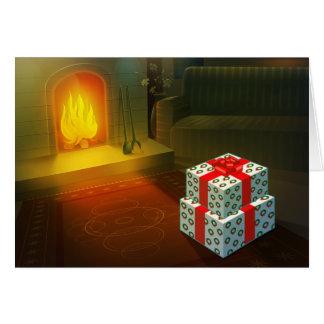 La carte d'entreprise de vacances de lueur chaude carte de vœux
