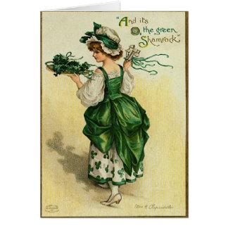 La carte du jour de St Patrick vert de shamrock