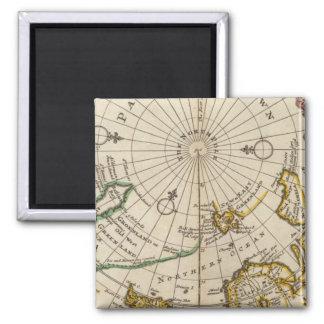 La carte du Pôle Nord et les territoires s'approch Magnet Carré