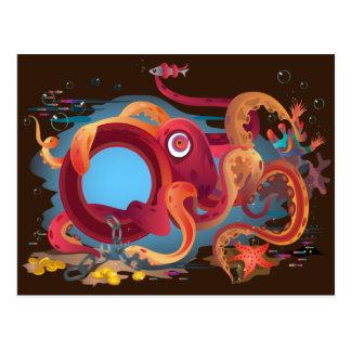 La carte postale avec l'image de poulpe
