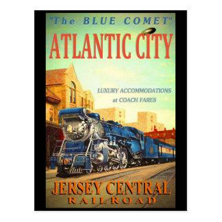 La carte postale bleue de train de comète