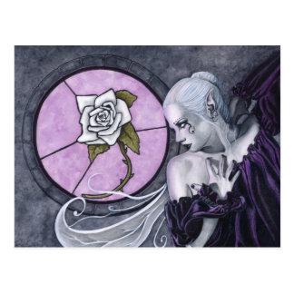 La carte postale de rose blanc
