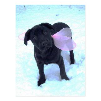 La carte postale féerique de Labrador de neige