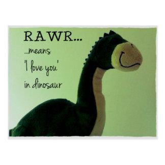 La carte postale Rawr de Dino signifie 'je t'aime