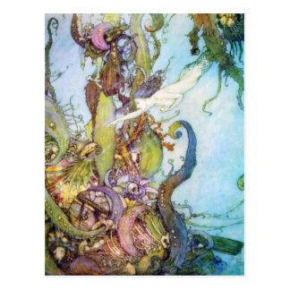 La carte postale vintage d'art de petite sirène