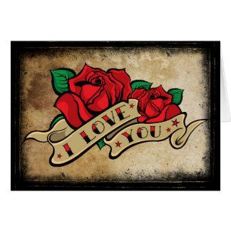 La carte rose de Valentine de tatouage je t'aime