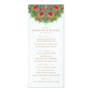La carte verte de menu de mariage de mandala