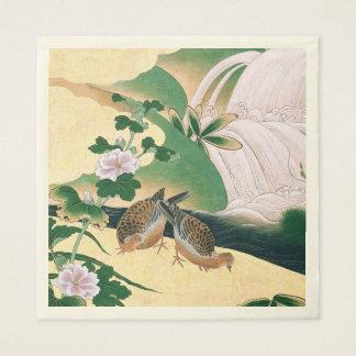 La cascade asiatique de colombes fleurit les serviette jetable