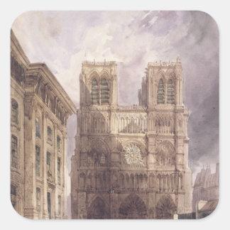 La cathédrale de Notre Dame, Paris, 1836 Stickers Carrés