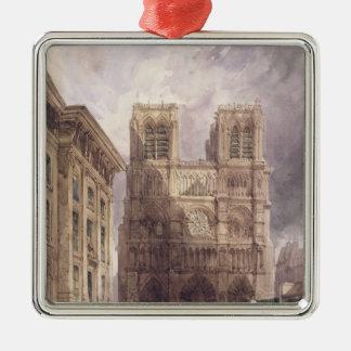 La cathédrale de Notre Dame, Paris, 1836 Ornement Carré Argenté