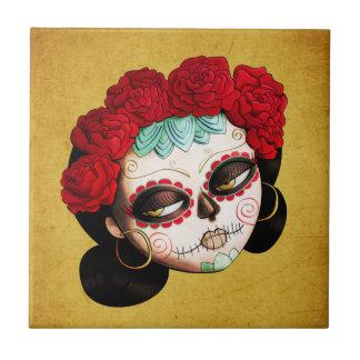 La Catrina - Dia de Los Muertos Girl Petit Carreau Carré
