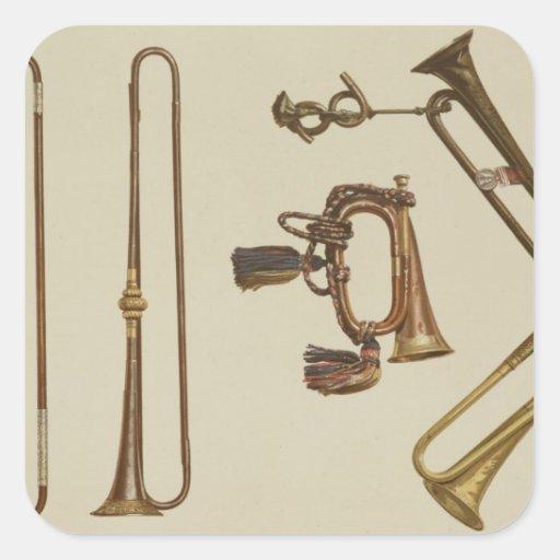 La cavalerie sonnent de la trompette, une bugle, stickers carrés