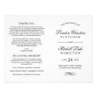 La cérémonie de mariage programme l'élégance prospectus 21,6 cm x 24,94 cm
