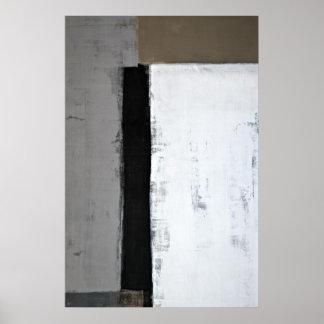 """""""Là c'est"""" art abstrait de gris et de Brown Affiche"""