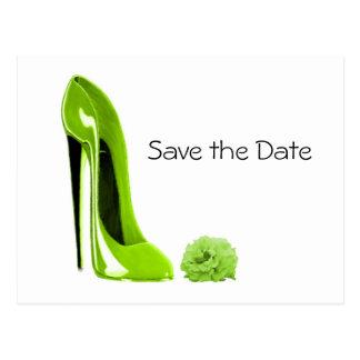 La chaussure stylet de vert de chaux et s'est cartes postales