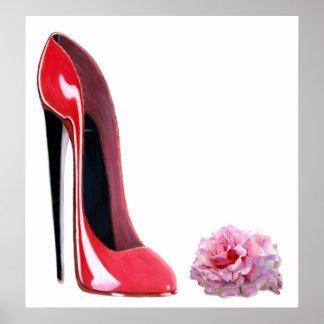 La chaussure stylet rouge et le rose de talon noir poster