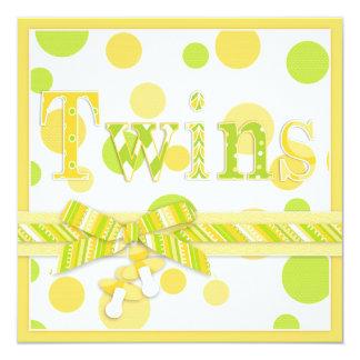 La chaux de citron pointille le baby shower de carton d'invitation  13,33 cm