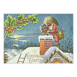 La cheminée du père noël présente le houx d'église carton d'invitation  12,7 cm x 17,78 cm