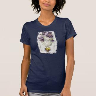 La chemise vintage des femmes de ballon de lis de t-shirt
