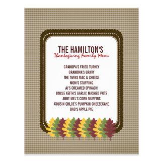 La chute laisse le modèle de menu de thanksgiving prospectus 21,6 cm x 24,94 cm