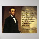 """La citation """"Amérique d'Abraham Lincoln ne sera ja Posters"""