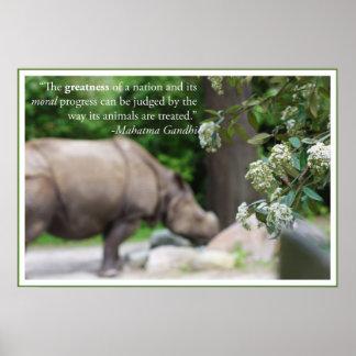 La citation de Gandhi, traitent les animaux bien Posters