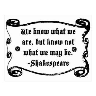 La citation de Shakespeare, savent ce que sommes Carte Postale