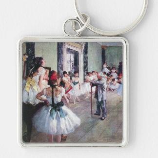 La classe de danse par Edgar Degas, art vintage de Porte-clé Carré Argenté