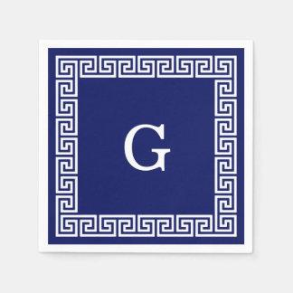 La clé grecque blanche #1 de bleu marine a encadré serviettes jetables
