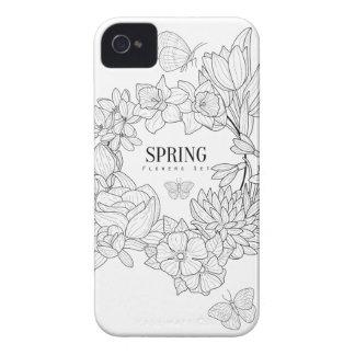 La colère du ressort fleurit tiré par la main coque iPhone 4 Case-Mate